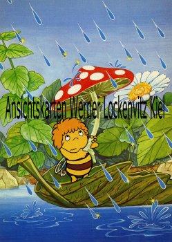 Ansichtskarte Biene Maja unter einem Pilz bei Regen Comic