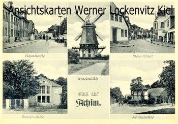 Ansichtskarte Achim Obernstraße Berufsschule Schützenhof Windmühle
