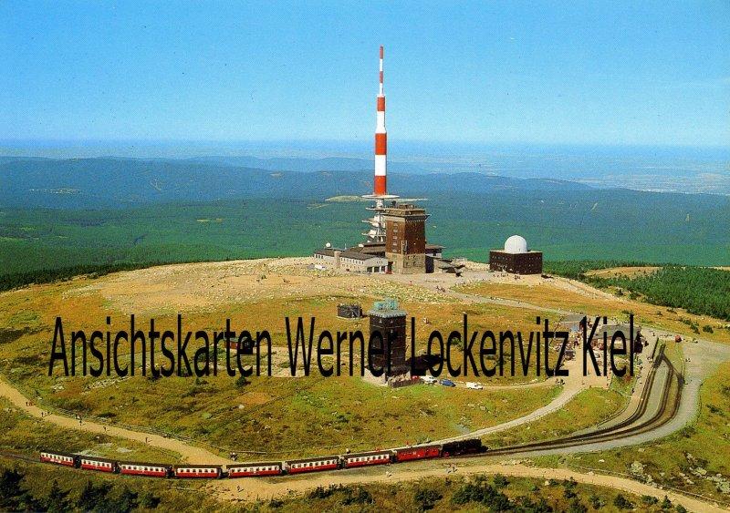 Ansichtskarte Brocken Brockenbahn mit Funkmasten Luftbild