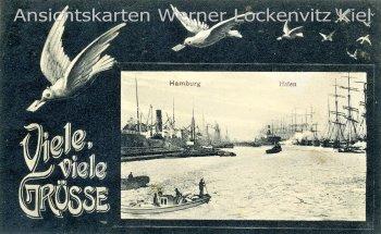 Ansichtskarte Viele, viele Grüsse Hamburg Hafen