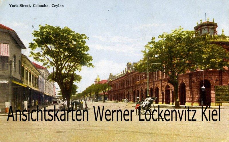 Postcard Sri Lanka Ceylon Colombo York Street