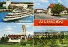 Ansichtskarte Friedrichshafen-Ailingen Ortsansicht Schulplatz Kirche