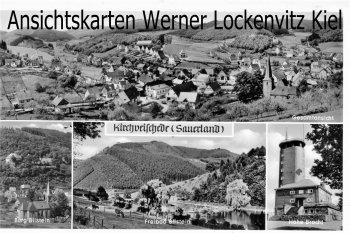 Ansichtskarte Lennestadt-Kirchveischede Ortsansicht Burg Bilstein und Freibad