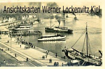 Ansichtskarte Flensburg Hafen mit Dampfern