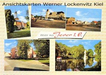 Ansichtskarte Jever Marktplatz Stadtkirche Parkanlagen