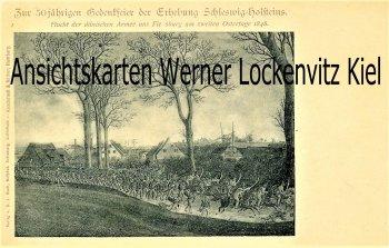 Ansichtskarte Flucht der Dänen aus Flensburg Gedenkfeier der Erhebung Schleswig-Holsteinischs