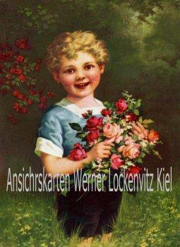 Ansichtskarte Junge mit Rosenstrauß Vorlagekarte