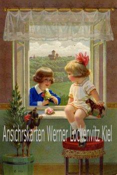 Ansichtskarte Junge und Mädchen am Fenster Vorlagekarte