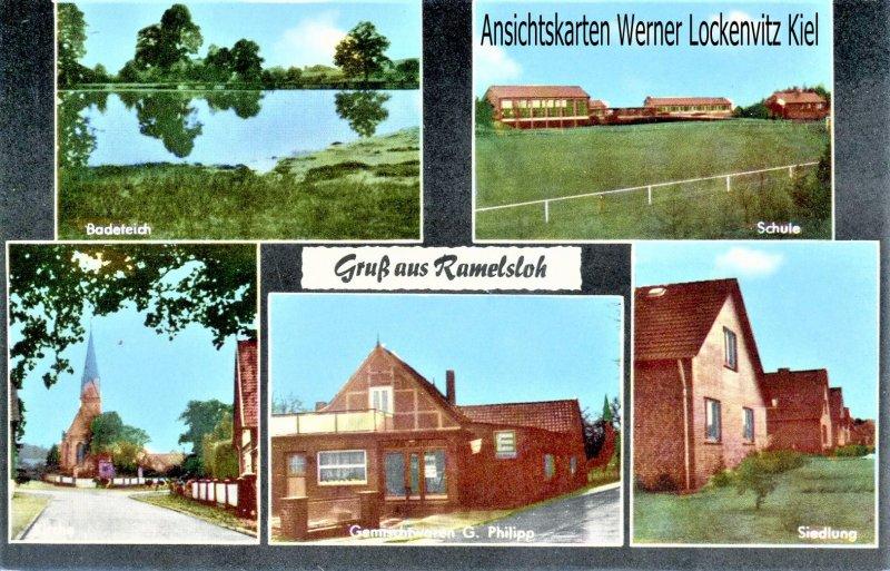 Ansichtskarte Ramelsloh Seevetal Gemischtwaren G. Philipp Siedlung Schule