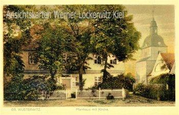 Ansichtskarte Wusterwitz Pfarrhaus mit Kirche