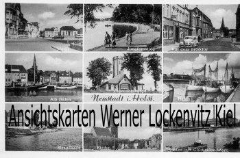Ansichtskarte Neustadt in Holstein Markt Brücktor Hafen Strandhalle Glücksklee-Werk