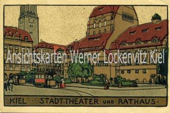 Ansichtskarte Kiel Stadttheater und Rathaus mit Straßenbahn Künstler-Stein-Zeichnung
