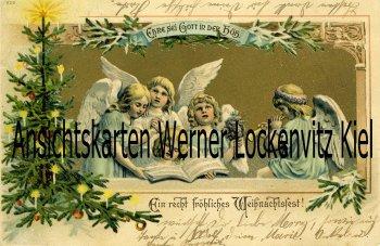 Ansichtskarte Ein recht fröhliches Weihnachtsfest Engel mit Tannenbaum