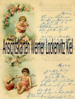 Ansichtskarte Engel Putte Amor Tauben Herzen Rosen