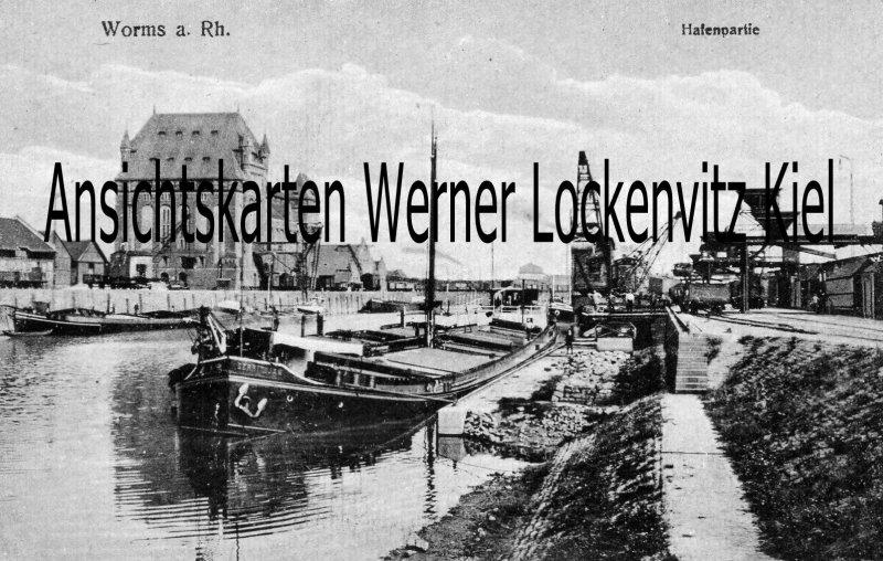 Ansichtskarte Worms Hafenpartie Kran Binnenschiff