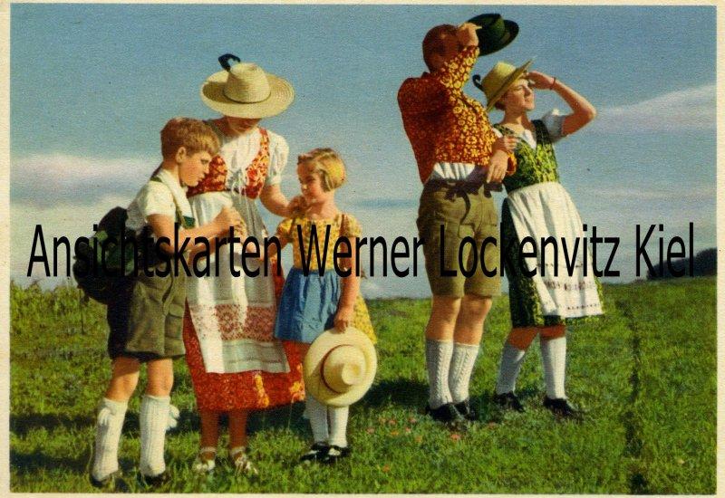 Ansichtskarte Hinaus ins Freie mit indanthrenfarbiger Kleidung Werbekarte Indanthren