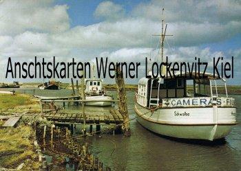 Ansichtskarte Hallig Hooge Hafen mit Schleuse und Dampfer Schwalbe