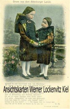 Ansichtskarte Altenburg Gruss aus dem Altenburger Lande Zwei Kinder in Tracht Lied Gedicht