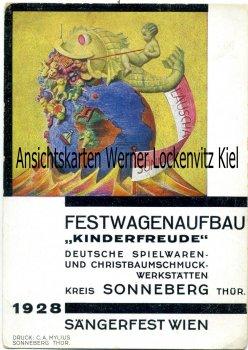 Ansichtskarte Sonneberg Thüringen Festwagenaufbau Kinderfreude Sängerfest Wien 1928