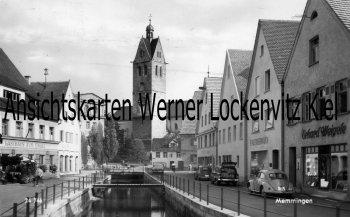 Ansichtskarte Memmingen Ortsansicht mit Gasthaus Zum Engel und Kirche