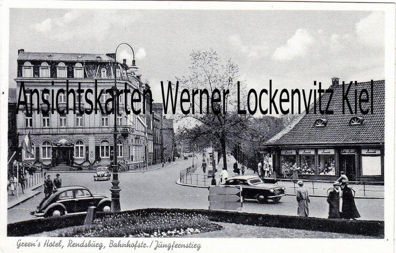 Ansichtskarte Rendsburg Greens Hotel Bes. W.A. Andresen Bahnhofstraße Jungfernstieg
