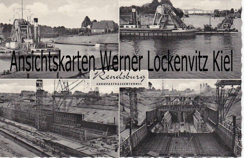 Ansichtskarte Rendsburg Europastrassentunnel im Bau