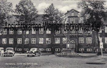 Ansichtskarte Rendsburg Partie am Schloßplatz mit Hospital zum Heiligen Geist