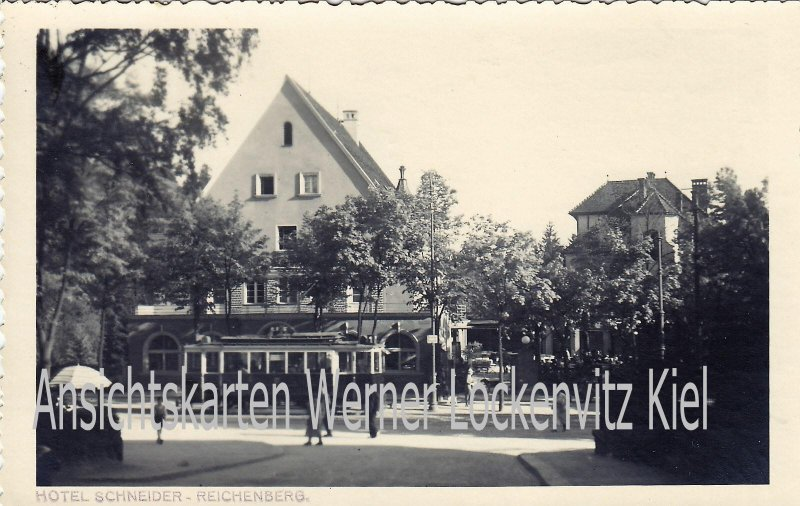 Ansichtskarte Tschechien Reichenberg Liberec Hotel Schneider mit Straßenbahn