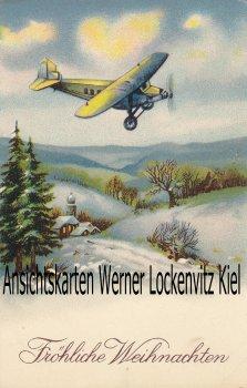 Ansichtskarte Flugzeug über Winterlandschaft Fröhliche Weihnachten