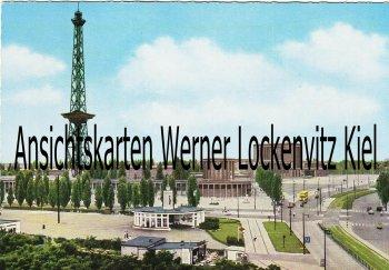 Ansichtskarte Berlin Funkturm mit Tankstelle