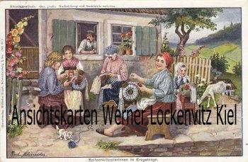 Ansichtskarte Spitzenklöpplerinnen im Erzgebirge Künstlerkarte