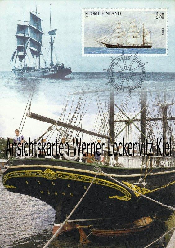 Maximumkarte Finnland Segelschiff Bark Sigyn