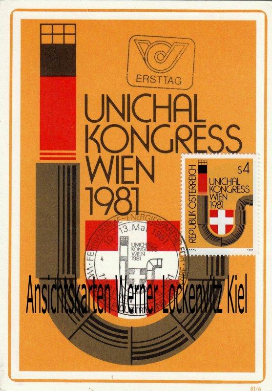 Maximumkarte Österreich UNICHAL-Kongreß Wien Fernwärme Energiesparend für Wohnung Industrie und Gewerbe