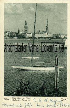 Ansichtskarte Lettland Riga Blick über die Düna FP Frontleitstelle Riga Segelyachten