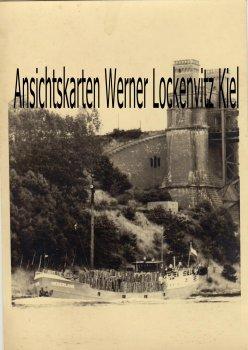 Ansichtskarte Frachter Niederland unter der Levensauer Hochbrücke