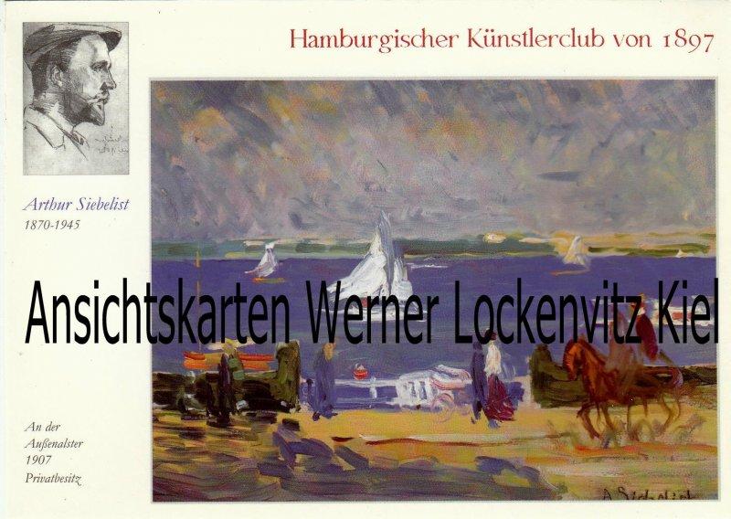 Ansichtskarte Hamburg Arthur Siebelist Gemälde An der Außenalster Künstlerklub von 1897