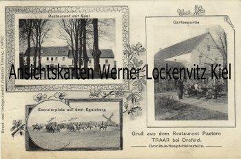 Ansichtskarte Krefeld-Traar Restaurant Pastern und Exerzierplatz auf dem Egelsberg