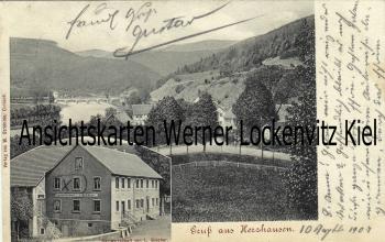 Ansichtskarte Herzhausen-Vöhl Ortsansicht und Gastwirtschaft von L. Blöcher