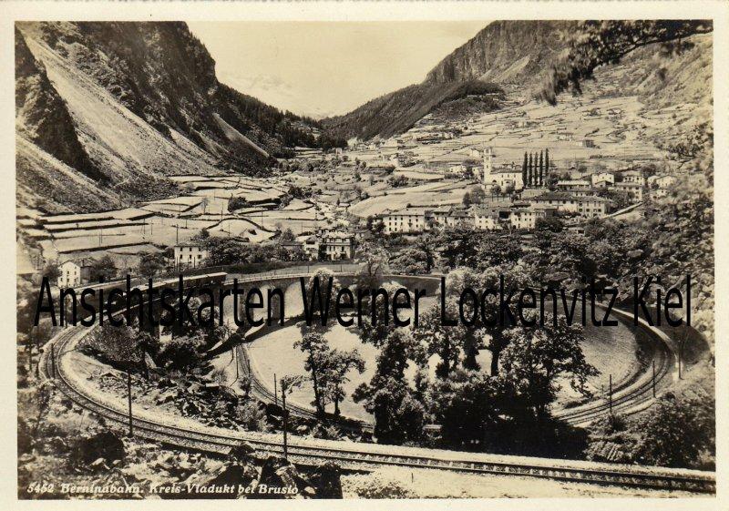 Ansichtskarte Schweiz Berninabahn Kreis-Viadukt bei Brusio