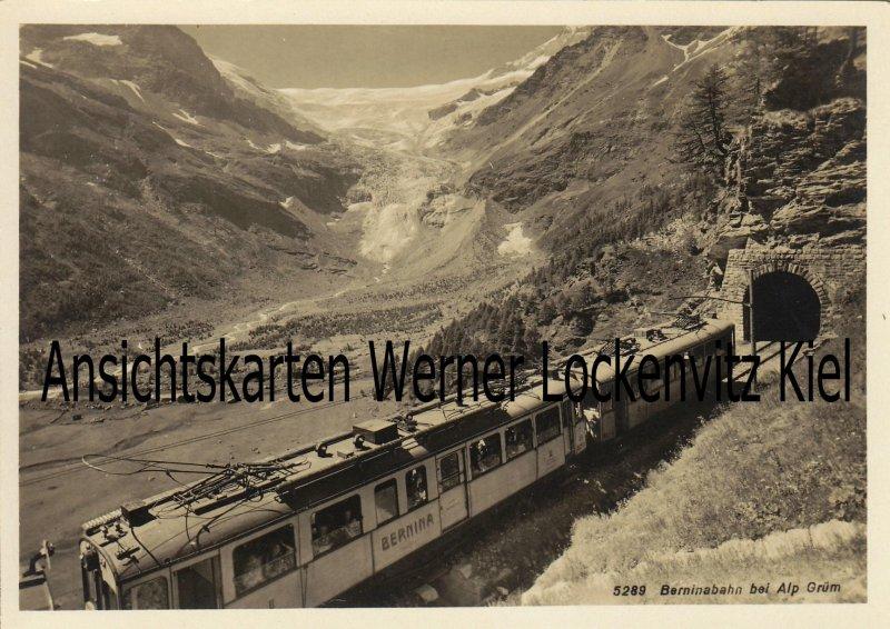 Ansichtskarte Schweiz Berninabahn bei Alp Grüm