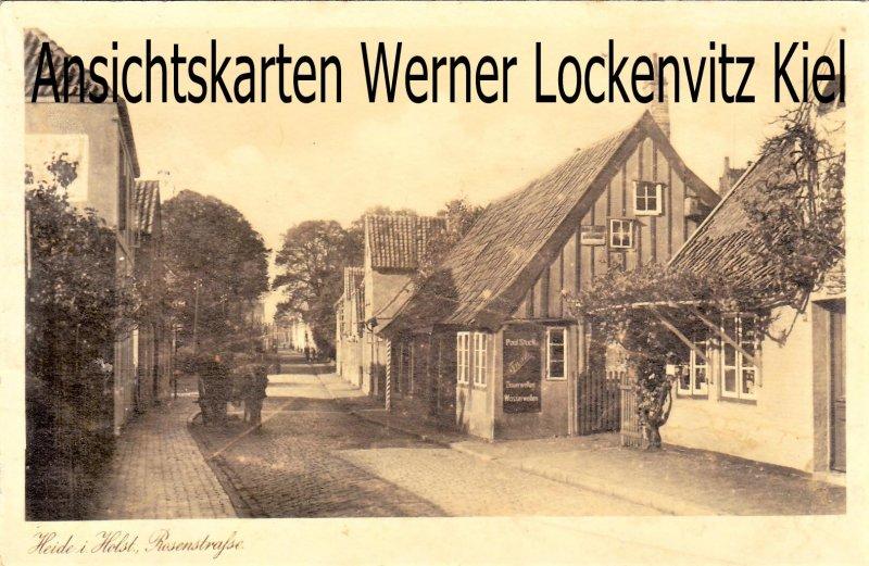 Ansichtskarte Heide in Holstein Rosenstraße mit Friseurladen von Paul Stuck