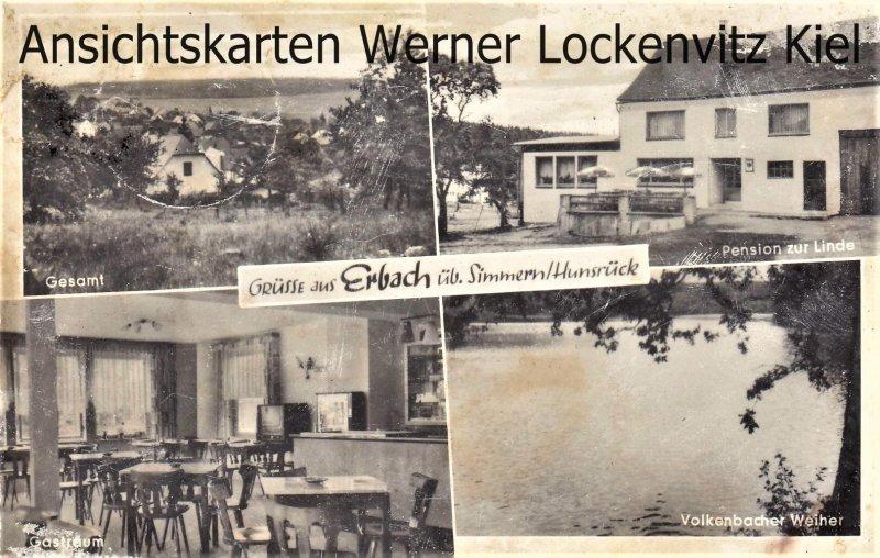 Ansichtskarte Erbach im Odenwald Ortsansicht Pension zur Linde LPStpl. Erbach Hunsrück