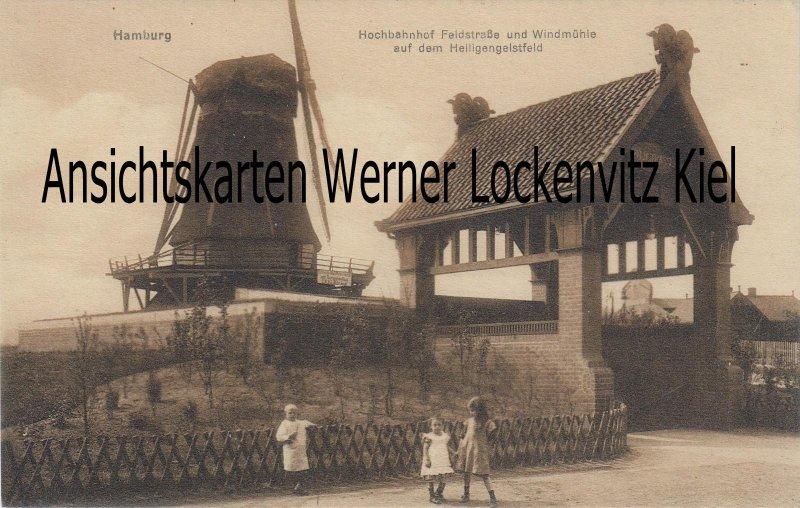 Ansichtskarte Hamburg Hochbahnhof Feldstraße und Windmühle