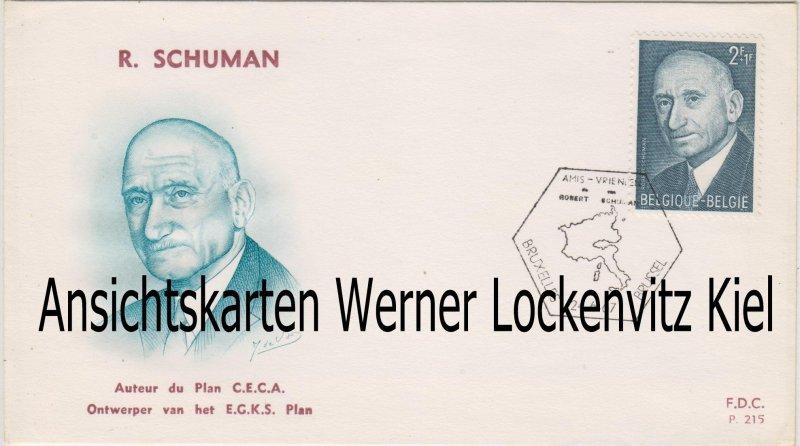 Ersttagsbrief FDC Belgien Robert Schuman Gründervater der Europäischen Union