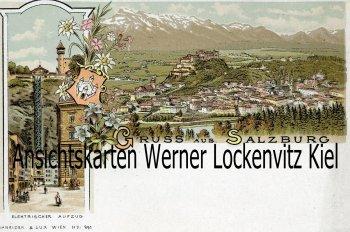 Ansichtskarte Österreich Salzburg Ortsansicht Elektrischer Aufzug Litho