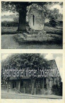 Ansichtskarte Bünningstedt Gemischtwarenhandlung von E. Ehlers Ehrenmal