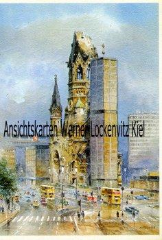 Ansichtskarte Berlin Zoecke Aquarell Gedächtniskirche sign. Nitschke SoStpl. Industrieausstellung