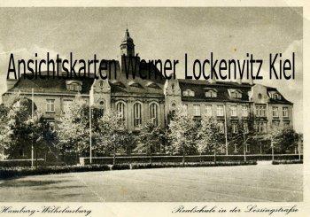 Ansichtskarte Hamburg-Wilhelmsburg Realschule in der Lessingstraße