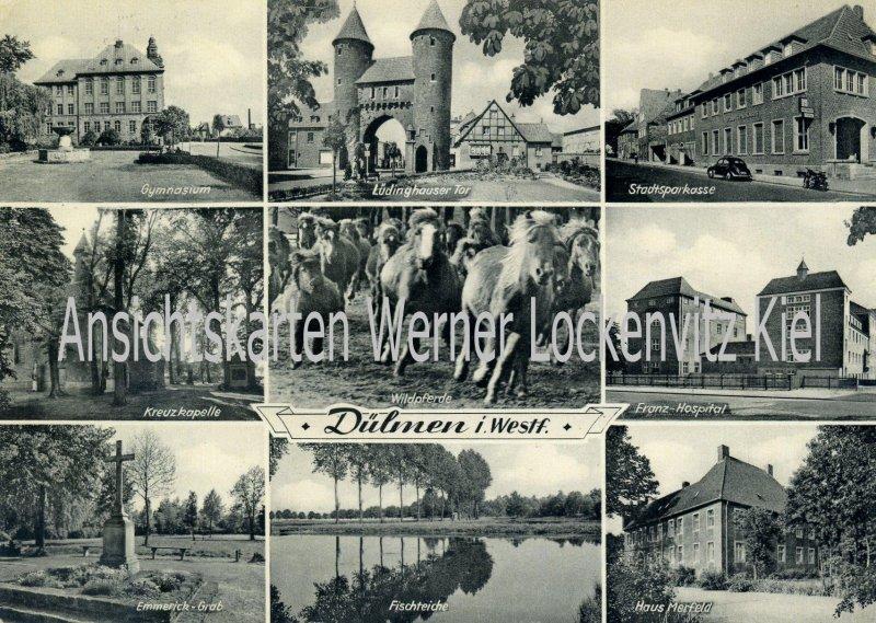 Ansichtskarte Dülmen Sparkasse Gymnasium Franz. Hospital Haus Merfeld