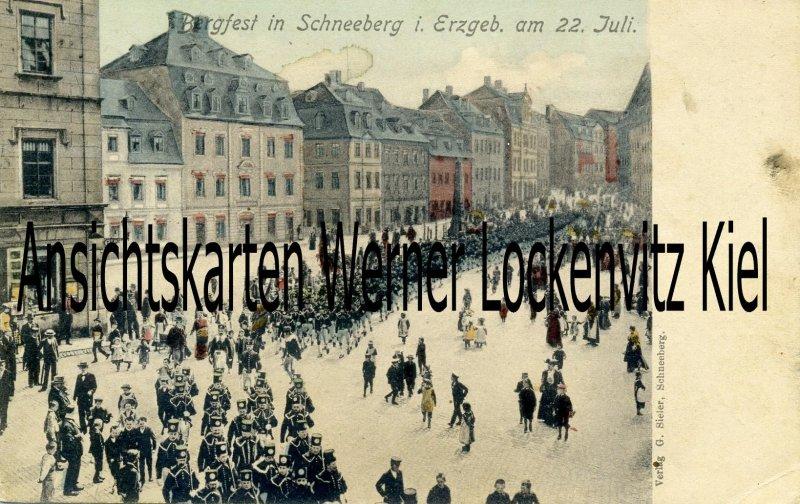 Ansichtskarte Schneeberg Erzgeb. Bergfest Umzug der Bergleute